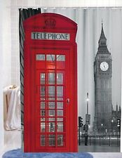 """Famous City Landmark Pattern Fabric Shower Curtain, 72"""" By 72"""" (London), New"""