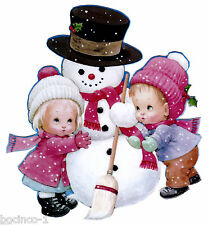 "5.5"" PRECIOUS MOMENTS GIRL SNOWMAN CHRISTMAS HOLIDAY WINDOW CLING DECAL CUT OUT"