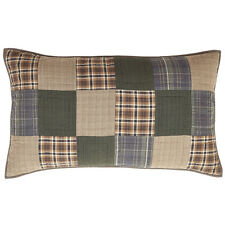 HENLEY Quilted Luxury King Sham  Set/2 Rusti​c Primitive Brown/Blue Madras Plaid