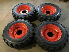 4 NEW 10-16.5 Deestone Skid Steer Tires & Wheels/Rims for Bobcat -10 ply-10X16.5