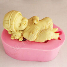 3D Cute Sleeping New Born Baby Silicone Mould Fondant Cake Decorating Moulds