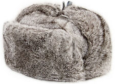 REAL FUR Hat Ushanka Russian Cossack UNISEX Trapper Hat Genuine Grey Rabbit