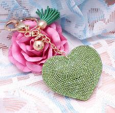 Moda 800 + Cristales Strass verde corazón de las mujeres Llavero Para Bolso Bolsa