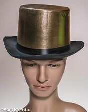 Top Hat Black Felt With Gold Lame' Fabric Covered Crown Fancy Costume Hat OS