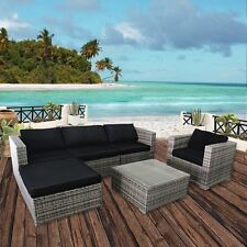 6 PC Outdoor Patio Garden Wicker Sofa Furniture Set Rattan Couch with Cushions