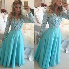 Modest Long Sleeves Blue Prom Dress V-neck Pearls Beads A-Line Eveing Party Gown