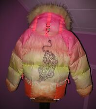 Womens Jet Set Multi Color Fur Hood Down Puffer Ski Jacket Size 3 Italy NWOT