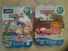21968 // LOT 2 JEUX V.SMILE VTECH 4/7 ANS ABC LAND ADVENTURE + CARS  NEUF