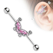 """CZ Butterfly Rose Gold IP Surgical Steel Industrial Barbell Piercing 14g 1/2"""""""