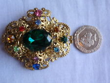 FILIGREE CZECH GOLD PLATED CRYSTAL FAUX EMERALD & MIXED COLOR STONES PIN BROOCH