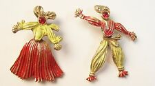 Pair Vintage Movable Red & Yellow Enamel Arabian Dancer Pins