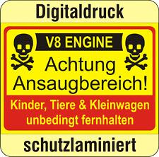 Aufkleber 150x105mm Tuning Krad Auto Quad Luftfilter Warnung Ansaugbereich V8