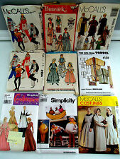 9 Vtg COSTUME Pattern LOT Child Adult Bible Centenn Prairie Clown *BANANA SPLIT*
