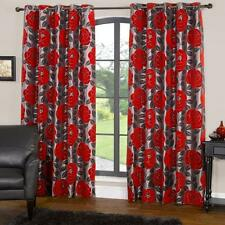 """Modern Floral Design Red Rose Flower Ring Top Fully Lined Curtains 90"""" x 72"""""""