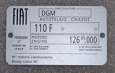 CLASSIC FIAT 500 R  CHASSIS PLATE- HIGHEST QUALITY