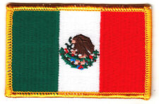 MEXICO FLAG - IRON ON EMBROIDERED PATCH - Mexican National Flag w/Gold Border