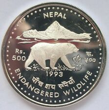 Nepal 1993 Himalayan Black Bear 500 Rupees Silver Coin,Proof