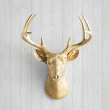 Wall Charmers Deer in Gold Faux Head Fake Animal Resin Taxidermy Buck Antler Art