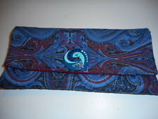 Homemade Trifold Fabric Wallet  Paisley Print in Blues & Reds