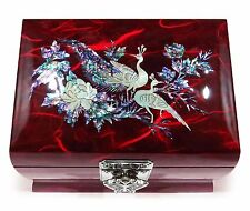 Jewelry Music Box Ring Organizer Wood Korean MOTHER OF PEARL Inlay Peacock Red