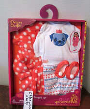 "Our Generation Snuggle Up PUG Pajamas Clothes Outfit 18"" girl doll American NEW!"