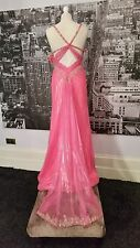 Mori Lee Sequinned Gown (Pink-Size 6-8) Ball, Prom, Pageant, Black-Tie ,Tag £220