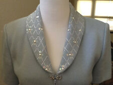 SO GORGEOUS ST JOHN EVENING WOMEN'S SKIRT SUIT  WITH CRYSTAL & PEARL  SIZE 2