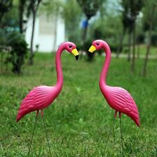 2X Oiseau Flamant Flamingo Figurine Pelouse Jardin Extérieur Ornament Décoration
