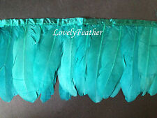 Goose feather fringe of peacock green colour 10 yards ribbon trim