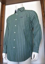 S Mens Chaps Easy Care Long Sleeve Button Shirt Green Striped Cotton Poly EUC