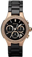 NEW DKNY NY4984 LADIES BLACK AND ROSE GOLD CERAMIC WATCH - 2 YEAR WARRANTY