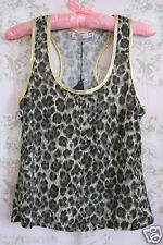 Rare! New TRAFFIC PEOPLE Metallic Gold Leopard Animal Print Racerback Vest Top