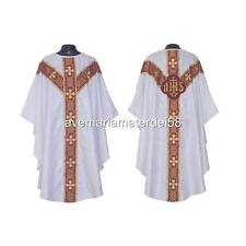 White Gothic Chasuble Set Lined + Stole, Maniple, Chalice Veil, Burse Altar