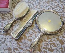 Vintage MARQUEL Hong Kong 3PC Silverplate VANITY Set W/Original Box-Unused