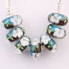 5/20Pcs Porcelain Murano Big Hole Lampwork Glass Beads Fit Charm Bracelet Craft
