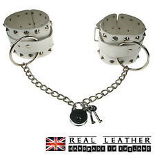 White Conical Ring Chain Studded Handmade 100% Real Leather Handcuff Made In UK
