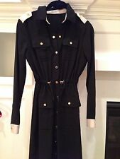 Calvin Klein Black And Beige Shirt Dress With Gold Buttons 2P NWOT