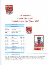 VIV ANDERSON ARSENAL 1984-1987 ORIGINAL HAND SIGNED FIGURINE PANINI STICKER