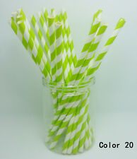 25 PCS Diagonal Striped Paper Drinking Straws Wedding Birthday Party Color 20