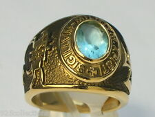 9x7 mm Knights Templar Masonic Mason March Stone Aqua Marine Men Ring Size 10