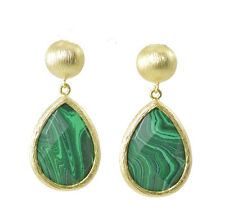 African Malachite Hand Crafted Drop Earrings Gold Tone Natural Stone 42mm Drop