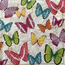 4 Paper Napkins Decoupage Butterflies Colorful Luncheon Craft Design