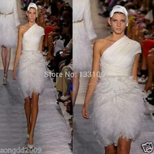 Upscale Ostrich Feathers Evening Wedding Dress White/Ivory Formal Occasion 2016