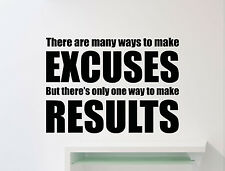 Gym Wall Decal Excuses Results Fitness Sport Vinyl Sticker Art Decor Mural 128gy