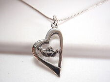 Claddagh in Heart Necklace 925 Sterling Silver Corona Sun Jewelry