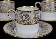 Wedgwood Florentine Gold Set of Four Demitasse Cups and Saucers