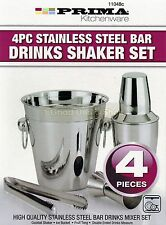 STAINLESS STEEL 4PC COCKTAIL SHAKER BAR MIXER SET KIT DRINK BARTENDER STRAINER
