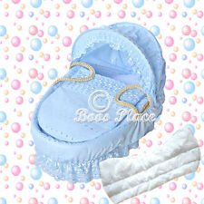 Blue Padded Broderie Anglaise Replacement Moses Basket Dressing Bedding Covers