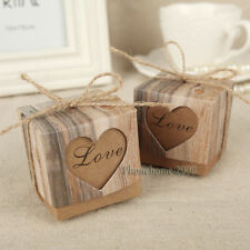 Wedding Love Heart Rustic Kraft Candy Boxes Vintage Ribbon Gift Favor Set of 100