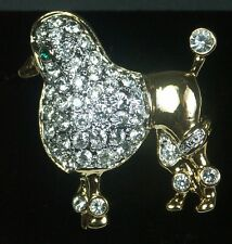 Yellow Gold Plated with Diamante Crystals Brooch Poodle shaped BR545 NEW